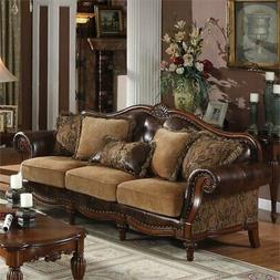 ACME 5495 AC-05495 Sofa, 2Tone Brown PU & Chenille