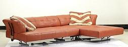 """138"""" Oversize sofa sectional Italian red leather color steel"""