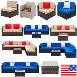 16 Type Rattan Wicker Sofa Set Sectional Couch Cushioned Fur