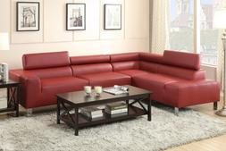 2 Piece Sectional Sofa Bonded Leather Sectional Adjustable H