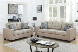 Poundex 2 Pcs Beige Fabric Finish Loveseat Sofa Set