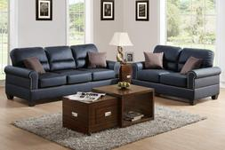Poundex 2 Pcs Black Shelton Leather Loveseat Sofa Set