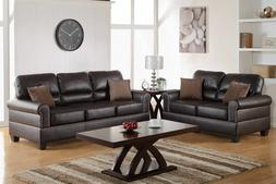 Poundex 2 Pcs Espresso Shelton Leather Loveseat Sofa Set