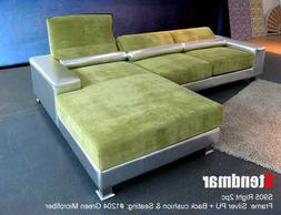 2-Piece Green and Silver Sectional Sofa Set with Adjustable