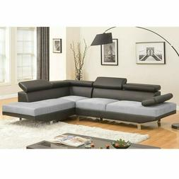 2 Piece Modern Contemporary White Faux Leather Sectional Sof