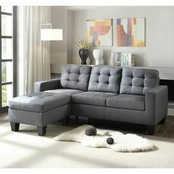 2 Pieces Sectional Sofa L-Shaped Couch w/Ottoman Linen for S