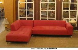 Modern design Red Leather Sectional sofa + chaise + ottoman