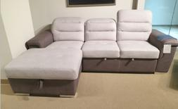 2 tone polyester queen sleeper storage sofa