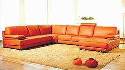 2227 orange leather contemporary sectional