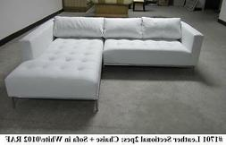 2PC Modern Contemporary white Leather Sectional Sofa #1701