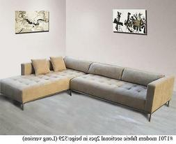 2PC Modern Fabric tufted Sectional Sofa #1701 in beige