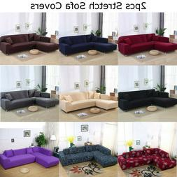 2pcs 3-seater Sofa Covers Stretch Slipcover for L Type Separ