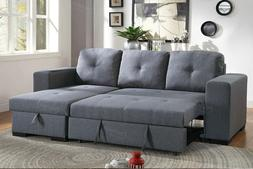 2Pcs Blue Grey Polyfiber Reversible Sectional Storage Sofa S