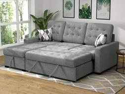 2PCS Sectional Sofa Bed Upholstery Sleeper  Gray Chaise with