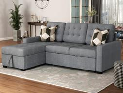 2pcs sectional sofa bed upholstery sleeper gray