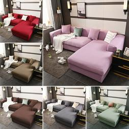 2Pcs Sectional Sofa Covers L Shape Polyester Fabric Stretch