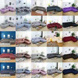 2Pcs Sofa Covers  For L-Shape Sectional  Stretch Elastic Sli