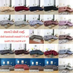 2pcs Sofa Covers Fabric Stretch Slipcovers for 3+3 Seater L