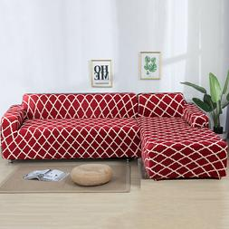 2pcs Sofa Covers Polyester Fabric Stretch Slipcovers for L T