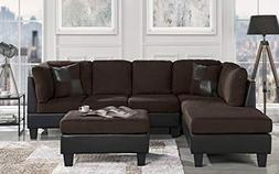 3 Piece Modern Microfiber Faux Leather Sectional Sofa with O