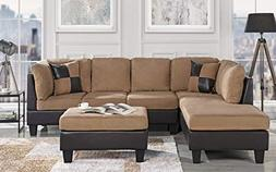 Case Andrea Milano 3-Piece Microfiber Faux Leather Sectional
