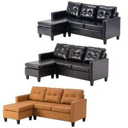 3 Colors Convertible PU Leather Sectional Double Chaise Long