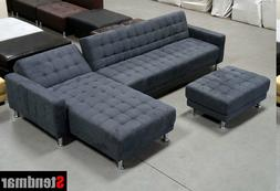 3-Piece Dark Grey Fabric Sectional Sofa Set  S0402CR IN STOC