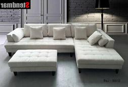 3-Piece Off White Modern Microfiber Sectional Sofa Set S168L