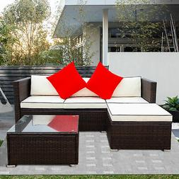 3 Piece Patio Sectional Wicker Rattan Outdoor Furniture Sofa