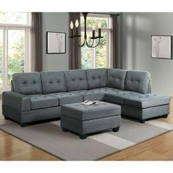3 Piece Sectional Sofa Microfiber with Reversible Chaise