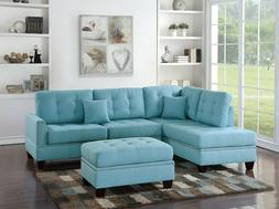 3-Piece Sectional Sofa Reversible L/R Chaise Tufted Sofa Ott