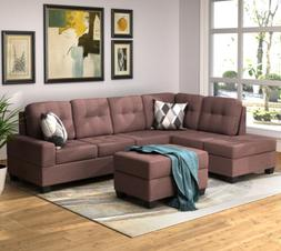 3-Piece Sectional Sofa Set L-Shaped w/Chaise Lounge Storage