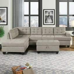3-Piece Sectional Sofa w/Chaise Lounge and Storage Ottoman L
