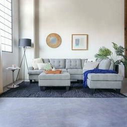 Modern 3 Piece Living Room Set Grey Sectional with Ottoman,
