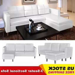 3 Pieces Corner Leather Sofa Sectional Set Living Room Furni