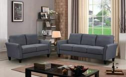 2 Pieces Sofa Set Sectional Loveseat Three-Seats Couch Grey