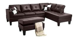 3pc Sectional Modern Sofa Set Left or Right Facing Chaise