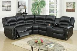 3Pcs Black Bonded Leather Reclining Sectional Sofa Set with