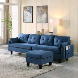 Upholstered Sectional Sofa/Couch 4-Seaters with Storage Otto