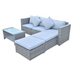 4 Pc Patio Rattan Sofa Table Set Wicker Garden Furniture Out