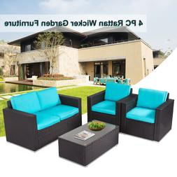 4 Pc Patio Wicker Sofa Sectional Set Couch Outdoor Furniture