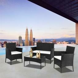 4 Pcs Sectional Patio Furniture Set Outdoor Wicker Sofas Rat