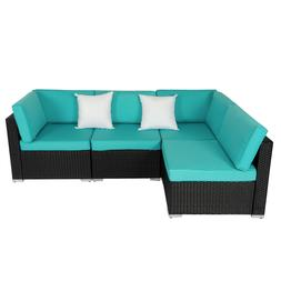 4 Piece Outdoor Patio Sectional Furniture Sets Wicker Rattan