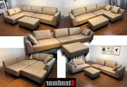 4-Piece Taupe Microfiber Fabric Sectional Sofa Set S160T
