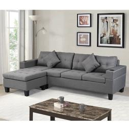 4-Seat Convertible Sectional Sofa Couch, L-Shaped Reversible