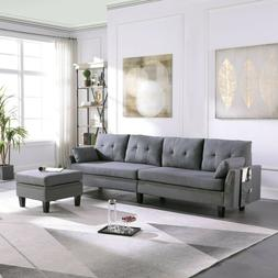 4-Seaters Sectional Sofa/Couch with Storage Ottoman Pillows