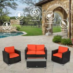 4PC Outdoor Patio Sofa Sectional Furniture Set PE Wicker Cus