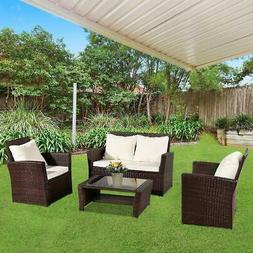 4PC Sofa Set Outdoor Patio Furniture Sectional Brown Rattan
