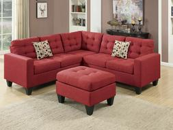 4PCS Modern Carmine Polyfiber Sectional Sofa Set with Ottoma