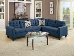 4Pcs Modern Navy Polyfiber Linen-Like Fabric Sectional Sofa
